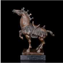 High Quality Bronze Antiques Brass Chinese Tang Horse Statue   Art Crafts For Home Decoration CZW-136