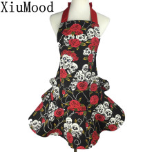 XiuMood Cotton Canvas Apron Printing Skulls Roses Red and Black, Pretty Party Hostess, Unique Gift