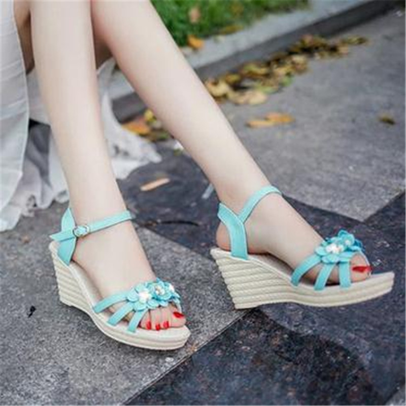 2017 summer new style shoes casual slope with imitation diamond sandals high heels with thick bottom flower fish mouth sandals<br><br>Aliexpress