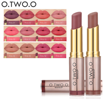2017 New Matte Lip Stick Color Cosmetics Waterproof Pigment Brown Nude o . two . o Brand Long Lasting Lipstick Matte Makeup(China)