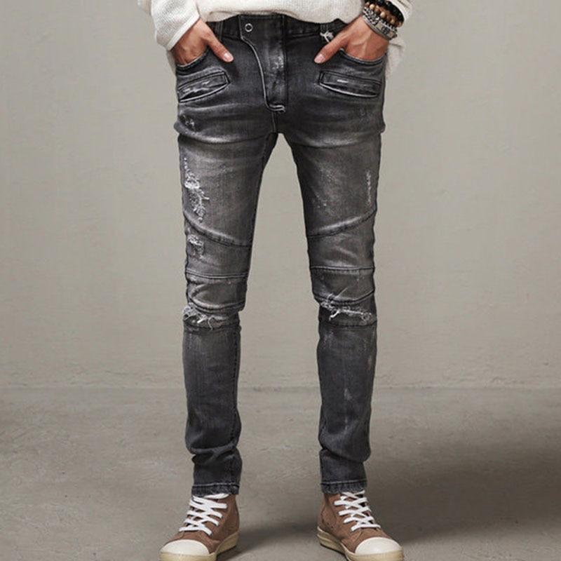 Mens Slim Cotton Jeans Distressed Biker Washed Gray Jeans Hip Hop Hole Pants Male Pencil Pants Одежда и ак�е��уары<br><br><br>Aliexpress