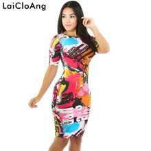 Fashion Letter Graffiti Print Sexy Women Dress Elegant New O-Neck Three Quarter Paddy Party Dresses Short Ladies Casual Dresses(China)