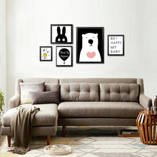 Cartoon Canvas Art Drawing Nordic Black Series Wall Papers Decorative Painting Ornament for Children Room Frame Not Included