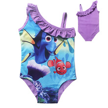 Newest Infants character dress baby Girls one piece Swim Bow wear Kids Bathing Children cartoon Nimo dress summer dress(China)