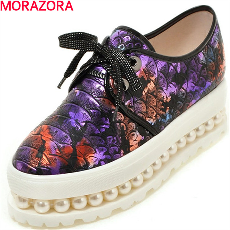 MORAZORA hot sale pu leather women pumps wedges shoes high heels lace-up platform shoes rpund toe single shoes fashion<br>