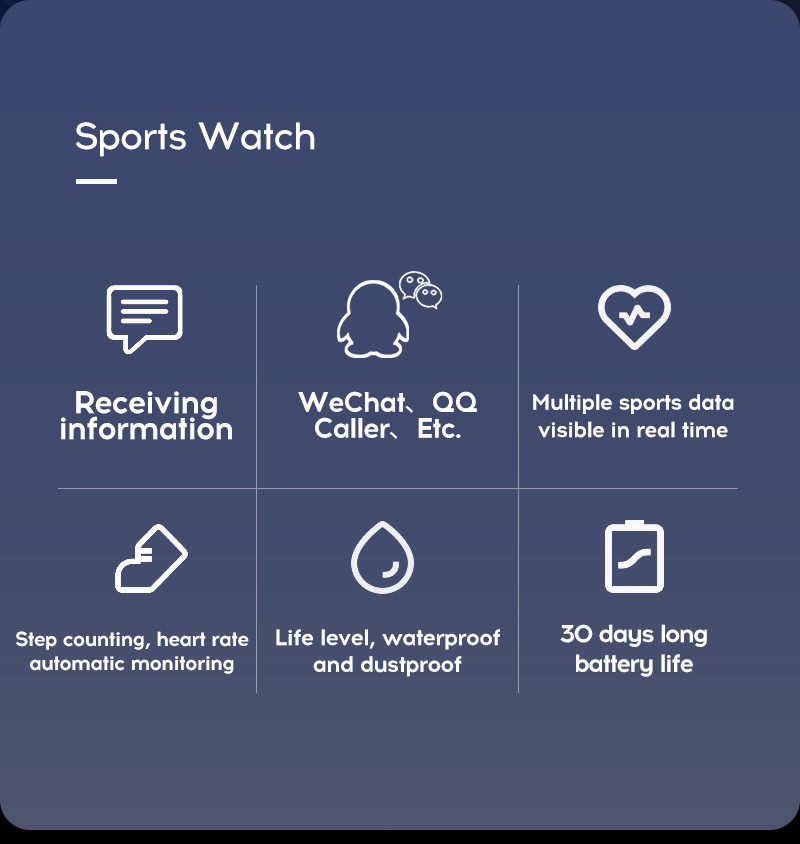 LYKRY A6S Smart Bracelet Fitness Tracker Heart Rate Blood Pressure Monitor Smart Band IP67 Waterproof Sports For Android IOS+Box (5)