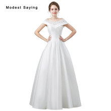 Buy Elegant Ivory Ball Gown Beaded Lace Wedding Dresses 2018 Formal Women Boat Neck Satin Bridal Gowns vestido de noiva Custom Made for $177.30 in AliExpress store