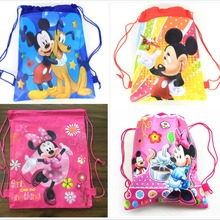1pcs Minnie mickey moana trolls non-woven bag fabric backpack child travel school bag decoration mochila drawstring gift bag