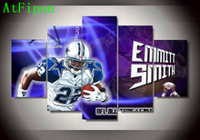 AtFipan Dallas Cowboys 22 Footballer Emmitt James Smith Sports Oil Painting On Canvas Modern Home Wall Pictures For Living Room(China)