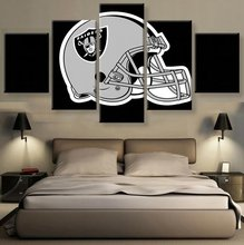 5 Pieces HD Canvas Painting Art Raiders Rugby Helmet LoGo Paintings on Canvas Wall Art for Home Decorations Wall Decor Art