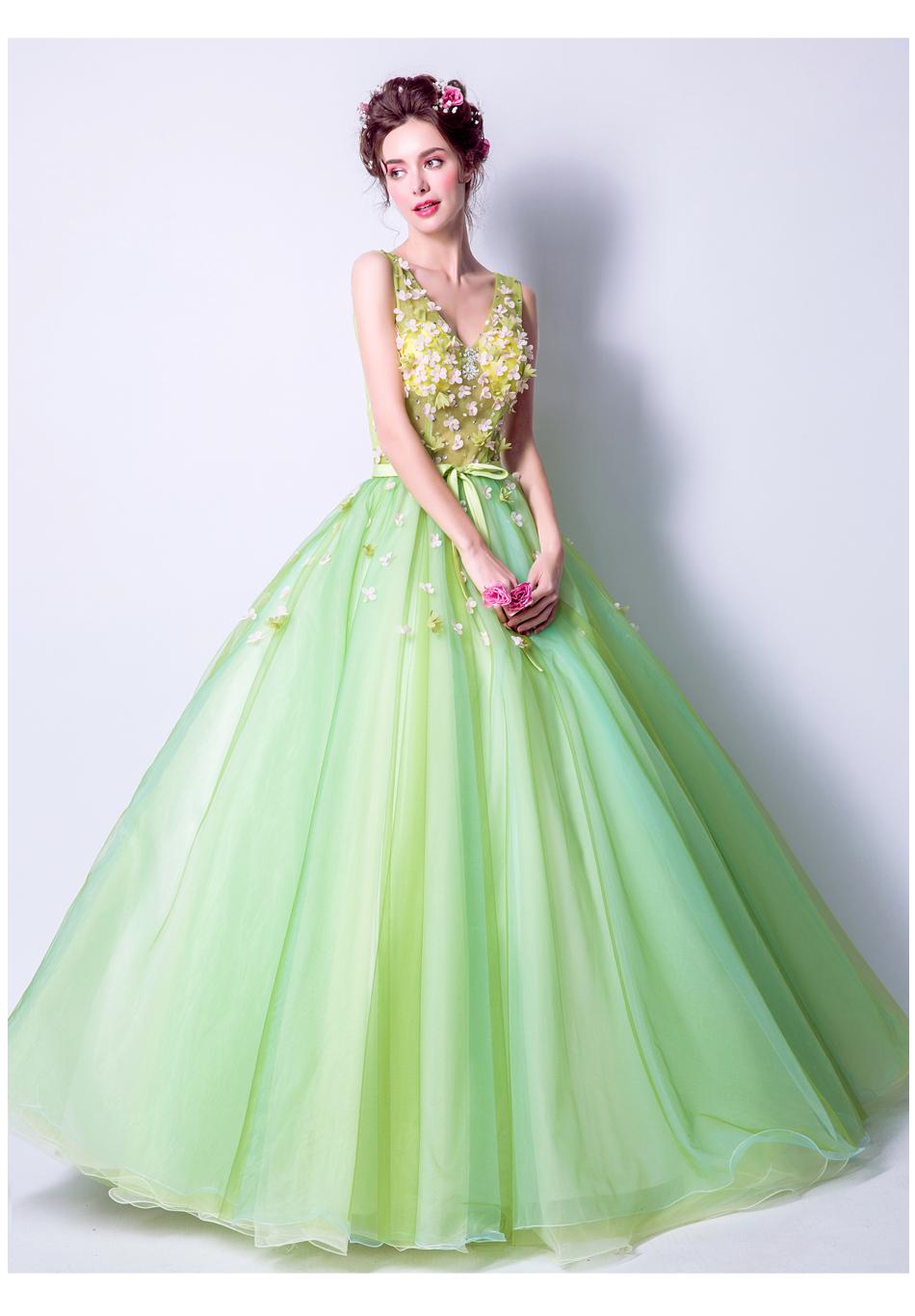 Angel Wedding Dress Marriage Bride Bridal Gown Vestido De Noiva 2017Soft powder, Qingjian Lvxian beauty, petals, green 9718 19
