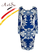 ArtSu China Style Blue White Porcelain Print Pencil Dress Women Classic Slim Midi Dress Fall Casual Office Dresses 2017ASDR20517(China)