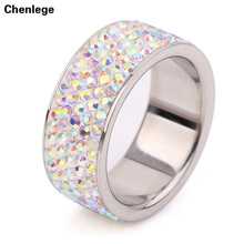 5 row AB multi top quality 2017 fashion ring CZ female rhinestone rings stainless steel full crystals ring jewelry charm women(China)