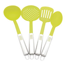 4 pieces Nylon Cooking Tools Stainless Steel Handle Kitchen Utensils Cooking Utensil Set skimmer soup ladle spoon slotted turner(China)