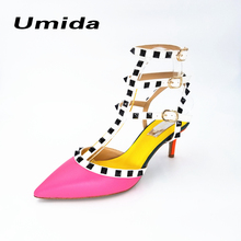 Umida Brand 2017 Hot Sale Women Rivets Pumps Sexy Point Toe High Heels Three Straps Sandals Size 33-43 Women Pumps Real Leather(China)