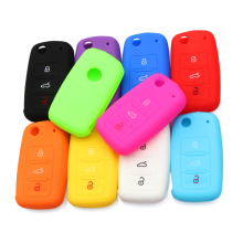 Hot silicone car key cover case shell fob for VW Golf Bora Jetta POLO GOLF Passat For Skoda Octavia A5 Fabia For SEAT Ibiza Leon(China)