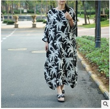 New product release in the fall of 2016, 100% of the original design loose big code printed cotton linen lady's dress