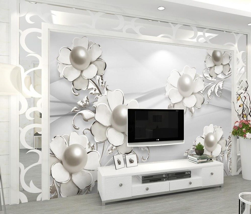 Luxury 3d Wallpaper Walls fashion stereoscopic jewelry flower nonwoven Wallpaper TV Backdrop Wallpaper Wall Papers Home Decor<br>