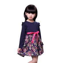 Fashion Cute Kids Flower Pattern Print Dress With Latest Technology Children Girls Long Sleeve With Sashes