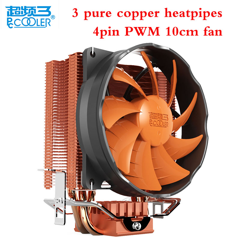 Pccooler 3 heatpipes 4pin PWM 10cm/100mm silent cpu cooler fan for AMD Intel 775 1156 1150 1155 1151 cpu cooling radiator fan<br>