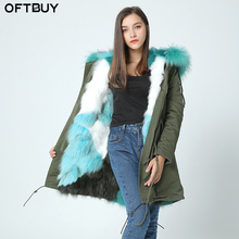 OFTBUY 2017 new parka fur coat winter jacket women genuine natural fox real fur coat real Raccoon Fur Collar Thick Warm parkas(China)