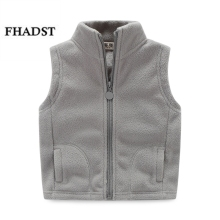FHADST 2017 thicken winter cotton vest turtleneck solid fashion baby fleece vest kids waistcoat boys girls fleece jacket Coat(China)