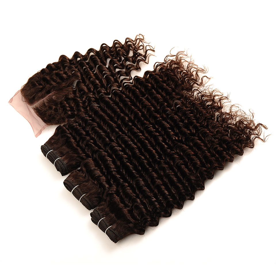 Brown #4 Brazilian Deep Wave Hair 3 Bundles With Closure Deal Pinshair Human Hair Weave Bundle With Middle Part Closure Non Remy (29)