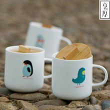 300ml Creative Cute Cartoon Ceramic Mugs Water Container Cups And Mugs Porcelain Tea Cup Coffee Mug Bamboo lid Novetly Gifts(China)