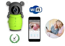 Cute Cartoon Bear Pouch Digital Wireless Wifi Baby Monitor IP Camera for iOS Android Smartphone Support Nightvision Intercom(China)