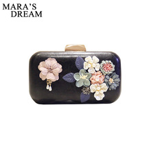 Mara's Dream 2017 Women Bag New the chain the Appliques pattern flowers wedding dinner bags hot hand evening Bags Clutch Box Bag(China)