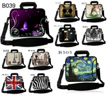 Laptop Shoulder Bag + Side Pocket Computer Handbag Neoprene Laptop Sleeve Case Bag For 10 10.1 11.6 12 12.1 13 13.3 15.6 17 inch