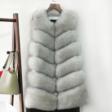 Pattern Vest Long Leather And real genuine Fur coats Vest Fox Hair Small Vest Woman The Whole Skin Loose winter jacket women