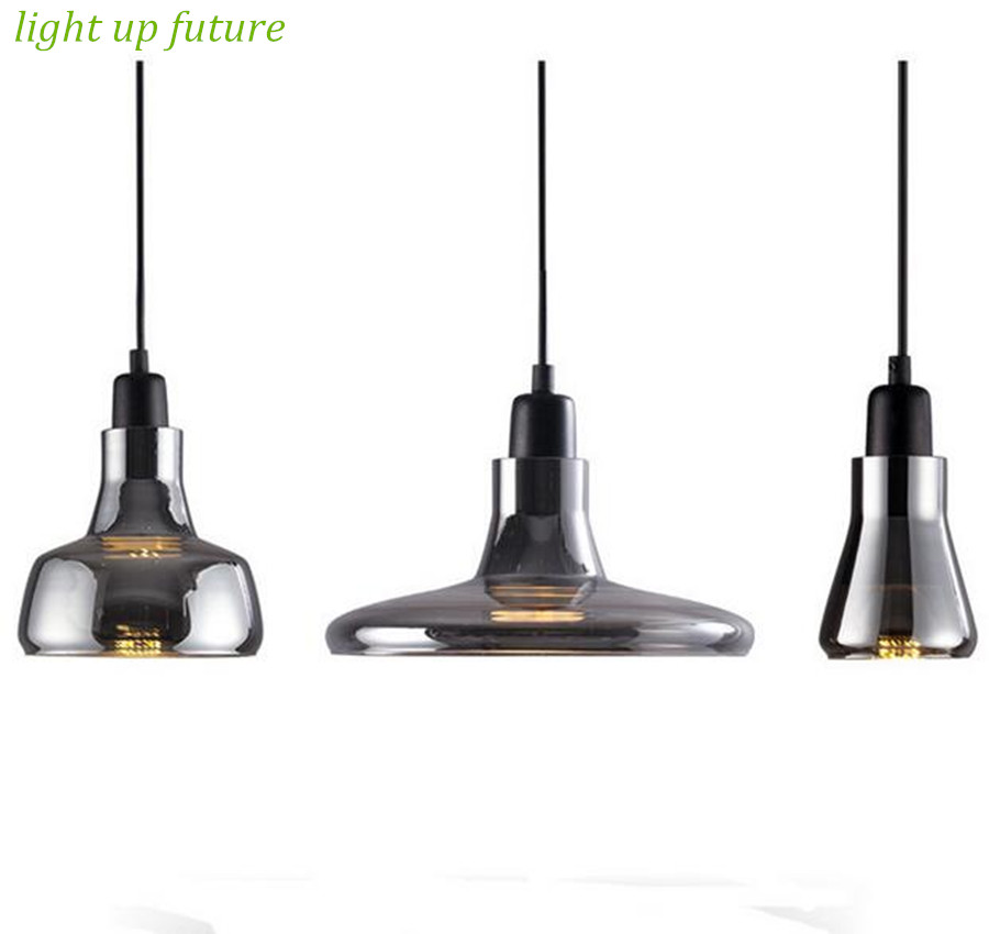 new vintage brief novel 100% hand made clear black/milk white glass led e27 pendant light living room dining room bar lamp1398<br>