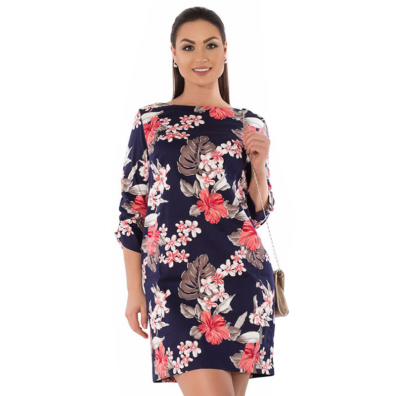 2018 Summer Dress Plus Size Women Clothing Elegant Floral Printed Dress Big Size Office Work Dress 5XL 6XL Party Dress Vestidos 13