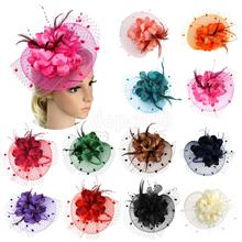 Lady Girls Flower Feather Fascinator Hat Hair Band Cocktail Wedding Party Headpiece