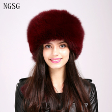 Fashion Women Fur Hat Real Fox Fur Pure White Winter Skullies Beanies Fur Hat European American Style Popular Type EA4050-10