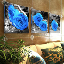 Modern Printed Canvas Painting Picture Blue Rose Pattern Canvas Painting Wall Art Home Decor For Living Room Wall Pictures