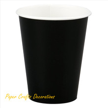 12pcs/lot 9OZ Black Solid Color Disposable Paper Cups Drinking Christmas Decorations Party Supplies(China)