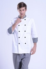 Fashionable Unisex Double-breasted Chef's Uniform,Chef Jackets Chef Kitchen Work Wear Chef service 3 color Gilt buttons(China)