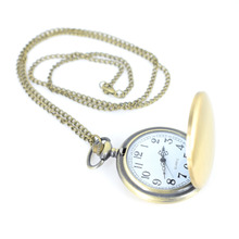 Cindiry Gold  Smooth Quartz Pocket Watch With  Chain Best Gift To Men WomenKey Pendant Male Clock Pendant Fob Chain P20
