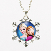 Snowflake Necklace Anna Elsa Girl Glass Pendant Choker Necklace Bijoux Summer Style Movie Jewelry Accessories Free Shipping 2017