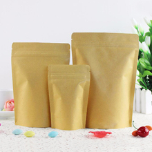100Pcs High Barrier Kraft Paper Stand up Zipper Coffee Pouch Bag, Zip Lock Food Gift Cookie Baking Packaging Paper Bags