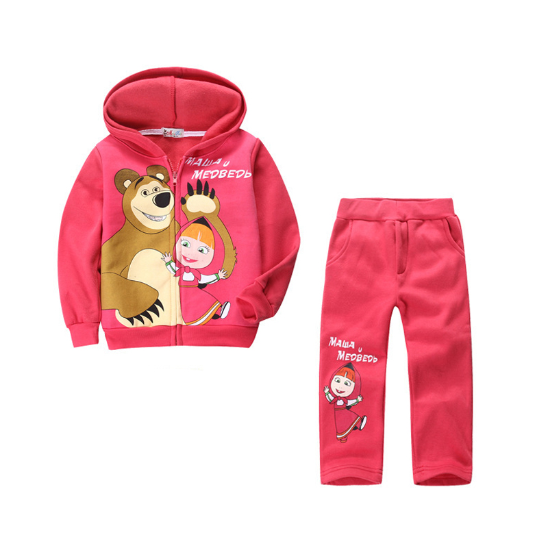 HOT! Retail children clothing set, Baby Girls Masha Bear Warm Suit, hoody jacket+pants cartoon clothes kids sportswear<br><br>Aliexpress