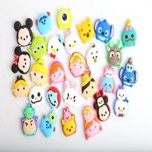 1PCS Cartoon TSUM TSUM Mickey Minnie Elsa Donald Duck Flat PVC Soft Decoration Parts Shoe Charms DIY Gadgets Kids Gift Charms(China)