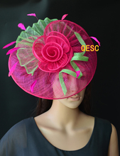 NEW Hot pink green  Big sinamay fascinator hat formal hat  for Tea Garden party Royal Races Kentucky derby.