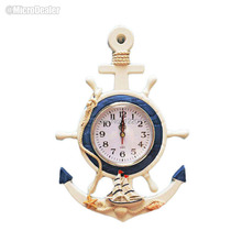 Wooden Wall Clock Helm&Anchor Shape Silent Quartz Watch Creative Mediterranean Handcrafted Timepiece Home Decoration MDWC041