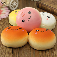 SiMR Jumbo 10cm Smile Marshmallow Bun Squishy Phone Charm Squishy Pendants Baby Toys Phone Straps for Cell Phone Decoration