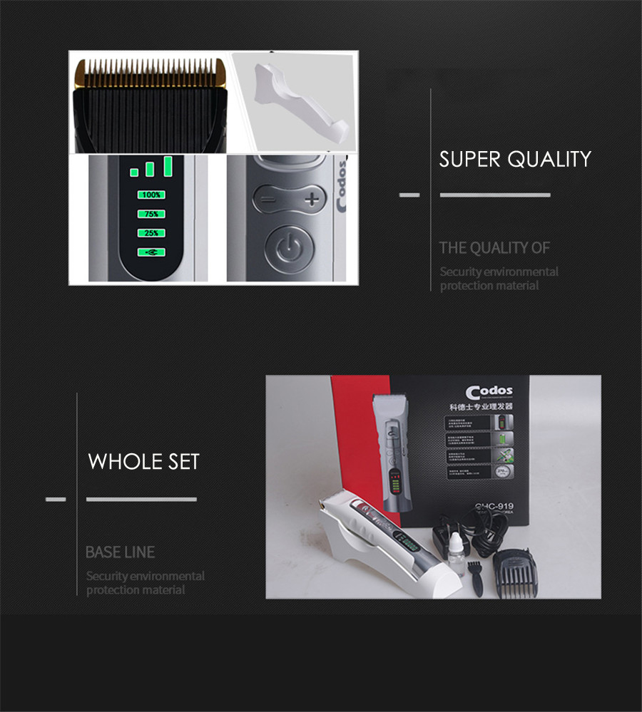 Professional Electric Hair Trimmer Rechargeable Hair Clipper LCD Display 2600mA Lithium Battery Cutting Machine for Barber Men