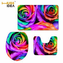 HUGSIDEA Floral Design Home Hotel Decor 3D Pretty Flower Rose Printing Non-slip Carpet 3PCS Set Bathroom Soft Rugs WC Toilet M