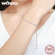 WOSTU Top Sale Real 925 Sterling Silver Sparkling Strand Chain Bracelet For Women Fine Jewelry Lucky Gift BKB029(China)
